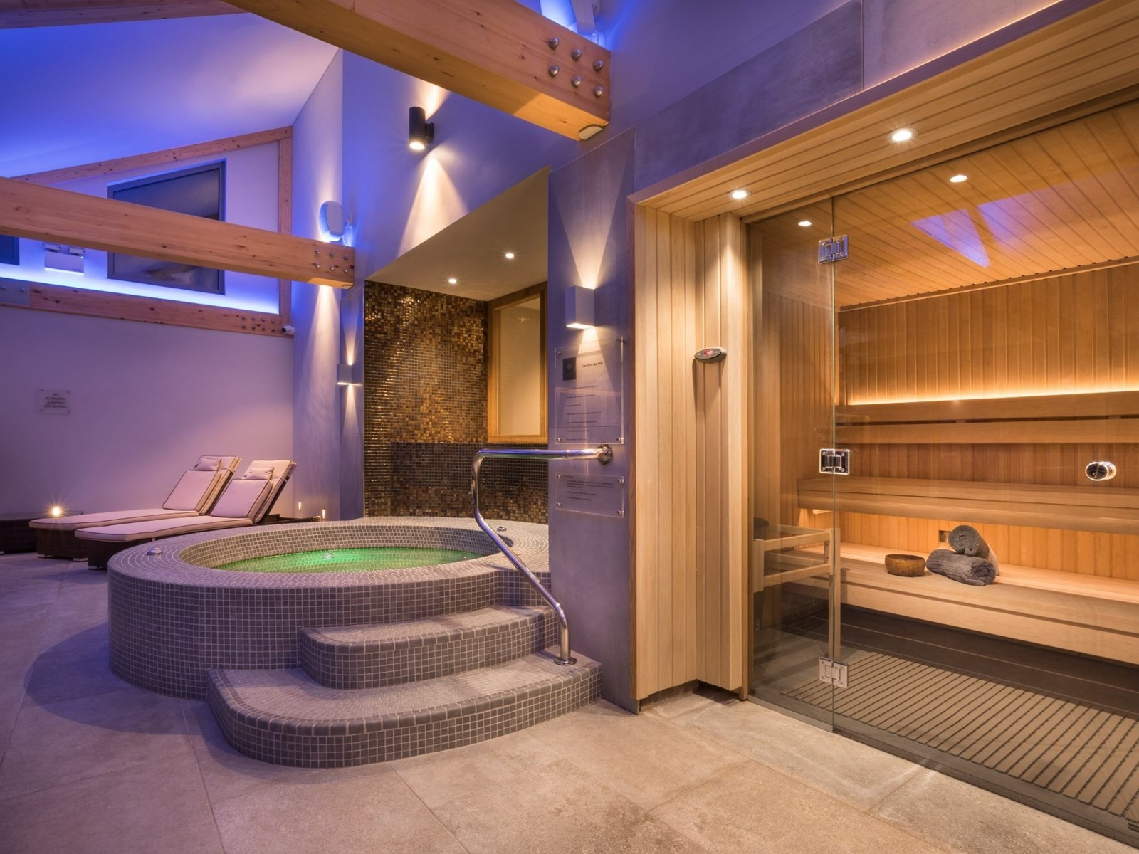 Spa pool and sauna