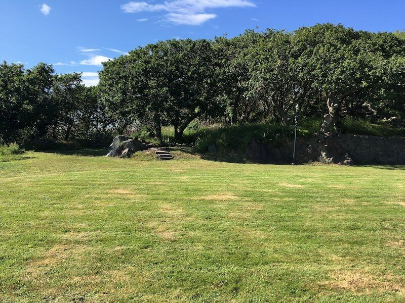 Large lawn overlooking Cardigan Bay