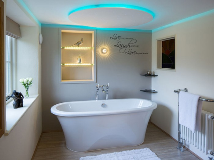 Relaxing Jacuzzi bath with starlit ceiling