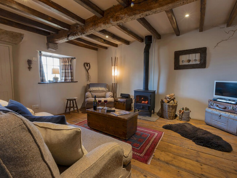Shepherd's Cottage lounge with wood burning stove