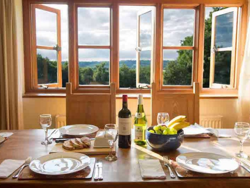Cobnut dining table with comanding views