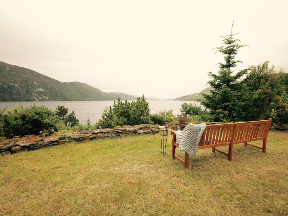 BENCH WITH PANORAMIC VIEWS OF LOCHNESS