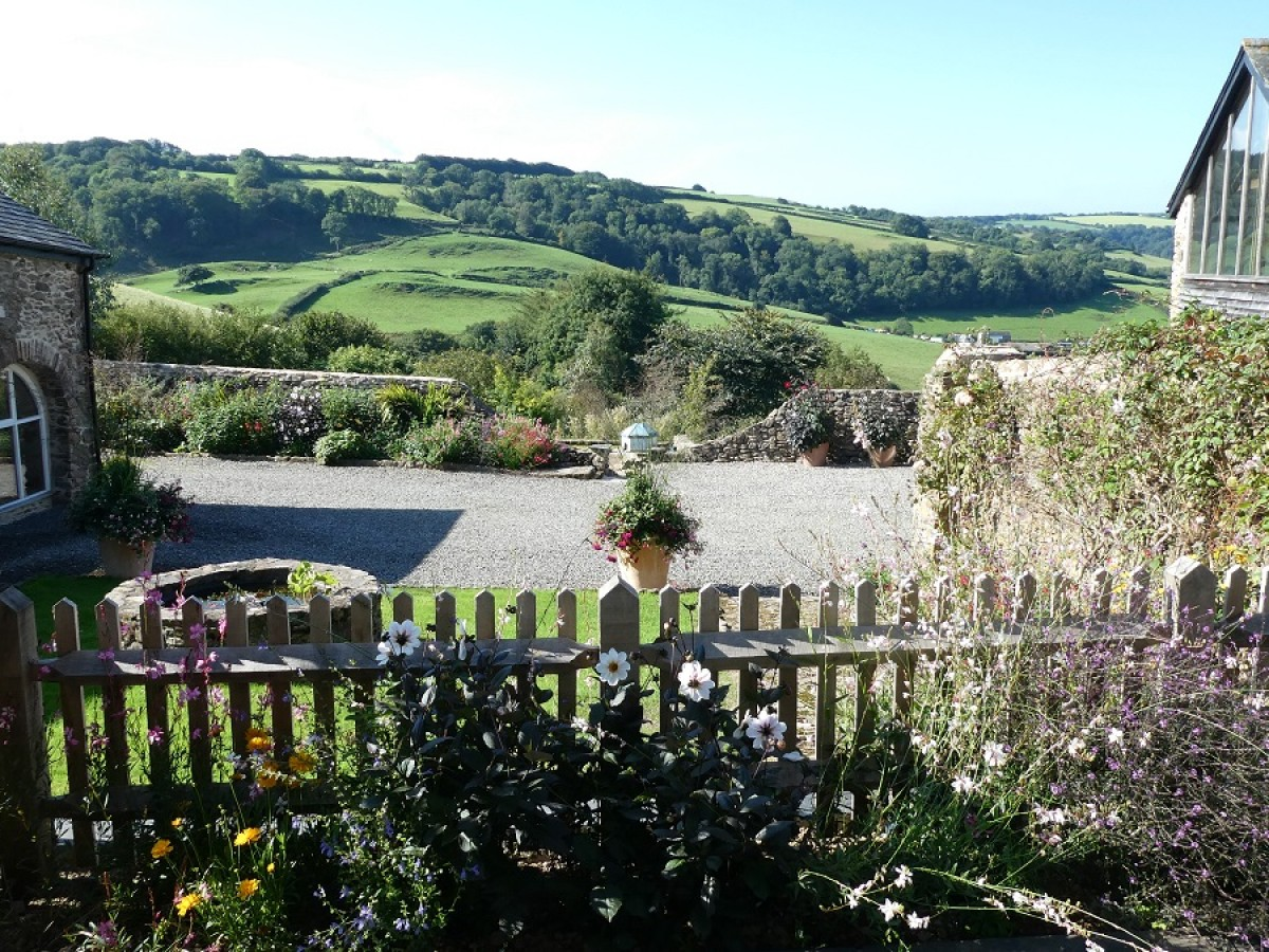 The view from Cider House Terrace at Nutcombe Holiday Cottages