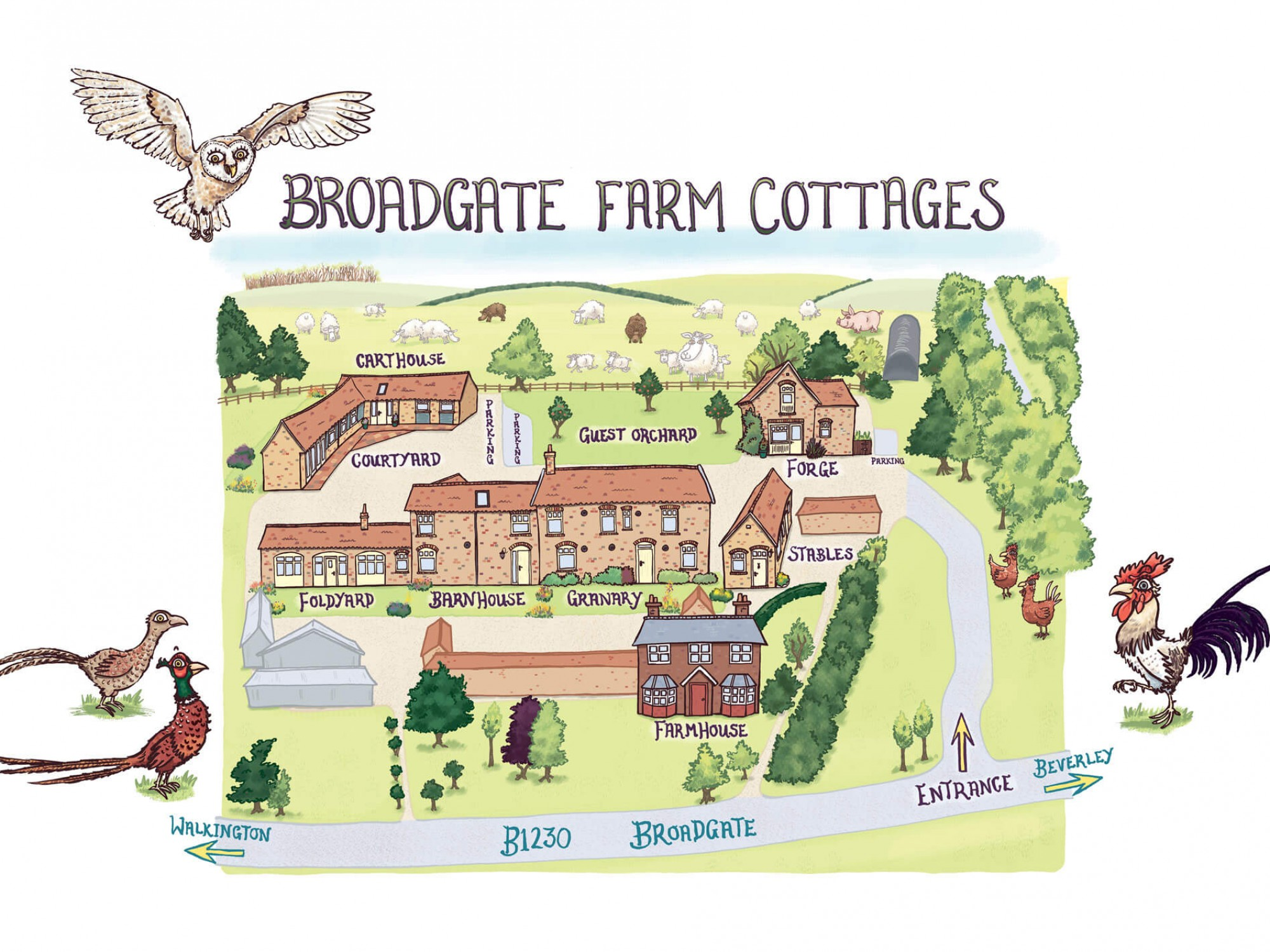 Map of the farm cottages