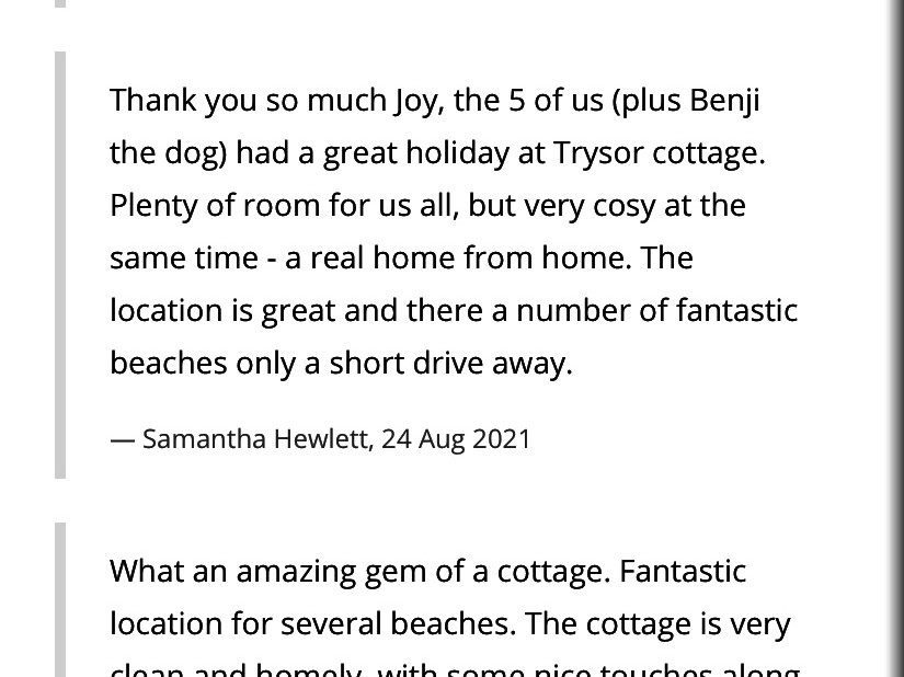 Trysor Holiday Cottage