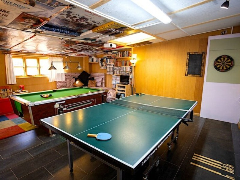 The games room at Heath Farm Holdiay Cottages