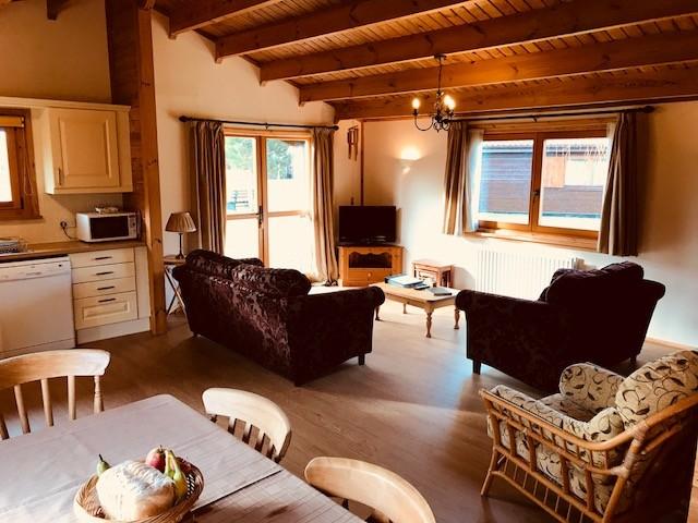Comfortable lounge area overlooking lake